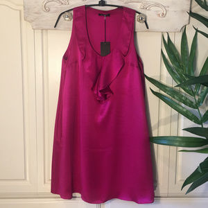 Jully Kang Silk Ruffled Cocktail Dress Size XS